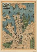 Sydney Map 1909 Aeroplane map Port Jackson Sydney city Ferry routes